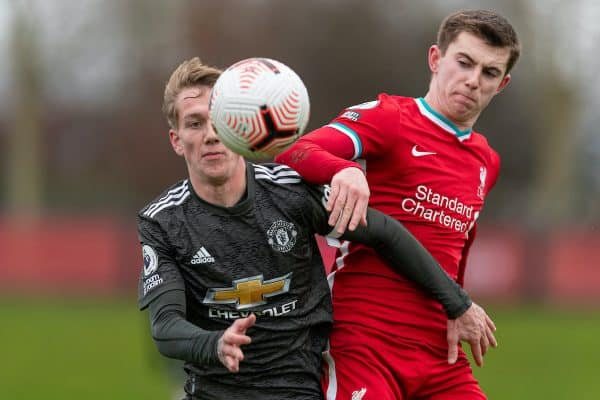 KIRKBY, ENGLAND - Saturday, January 30, 2021: Manchester United's Ethan Galbraith (L) and Liverpool's Ben Woodburn during the Premier League 2 Division 1 match between Liverpool FC Under-23's and Manchester United FC Under-23's at the Liverpool Academy. Manchester United won 6-3. (Pic by David Rawcliffe/Propaganda)
