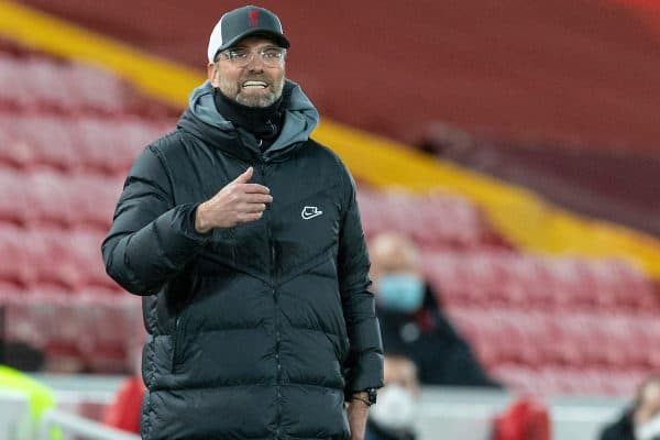 LIVERPOOL, ENGLAND - Wednesday, February 3, 2021: Liverpool's manager Jürgen Klopp during the FA Premier League match between Liverpool FC and Brighton & Hove Albion FC at Anfield. Brighton & Hove Albion won 1-0. (Pic by David Rawcliffe/Propaganda)