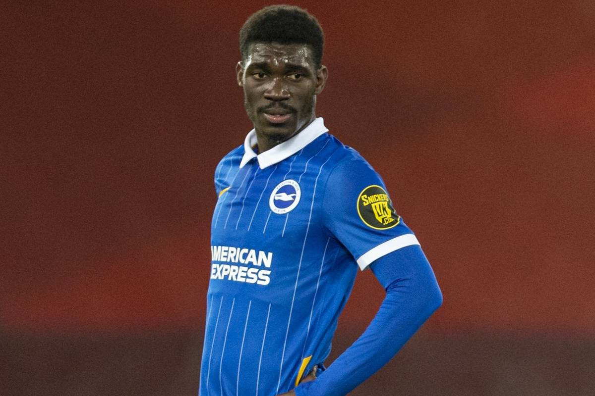 LIVERPOOL, ENGLAND - Wednesday, February 3, 2021: Brighton & Hove Albion's Yves Bissouma during the FA Premier League match between Liverpool FC and Brighton & Hove Albion FC at Anfield. Brighton & Hove Albion won 1-0. (Pic by David Rawcliffe/Propaganda)
