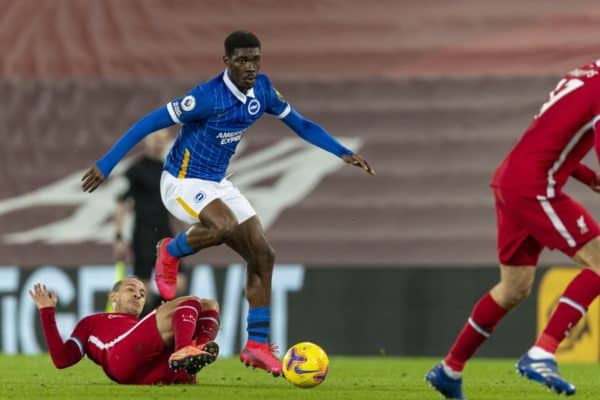 LIVERPOOL, ENGLAND - Wednesday, February 3, 2021: Brighton & Hove Albion's Yves Bissouma rides a tackle from Liverpool's Thiago Alcantara during the FA Premier League match between Liverpool FC and Brighton & Hove Albion FC at Anfield. Brighton & Hove Albion won 1-0. (Pic by David Rawcliffe/Propaganda)
