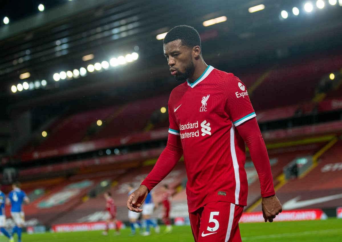 LIVERPOOL, ENGLAND - Wednesday, February 3, 2021: Liverpool's Georginio Wijnaldum walks off as he is substituted during the FA Premier League match between Liverpool FC and Brighton & Hove Albion FC at Anfield. Brighton & Hove Albion won 1-0. (Pic by David Rawcliffe/Propaganda)