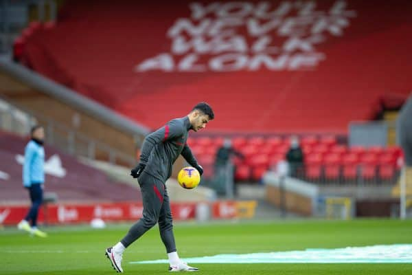 LIVERPOOL, ENGLAND - Sunday, February 7, 2021: Liverpool's Ozan Kabak during the pre-match warm-up before the FA Premier League match between Liverpool FC and Manchester City FC at Anfield. Manchester City won 4-1. (Pic by David Rawcliffe/Propaganda)