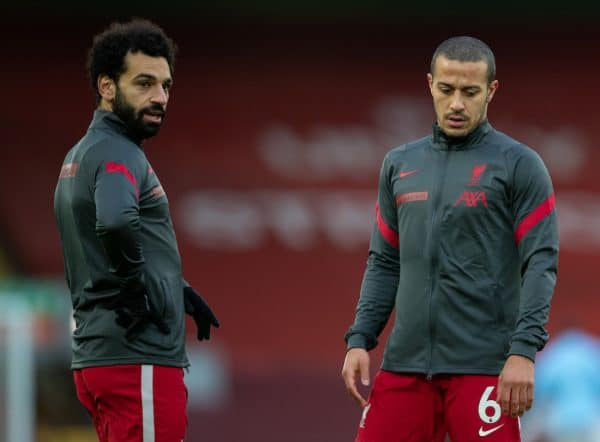 LIVERPOOL, ENGLAND - Sunday, February 7, 2021: Liverpool's Mohamed Salah (L) and Thiago Alcantara during the pre-match warm-up before the FA Premier League match between Liverpool FC and Manchester City FC at Anfield. Manchester City won 4-1. (Pic by David Rawcliffe/Propaganda)