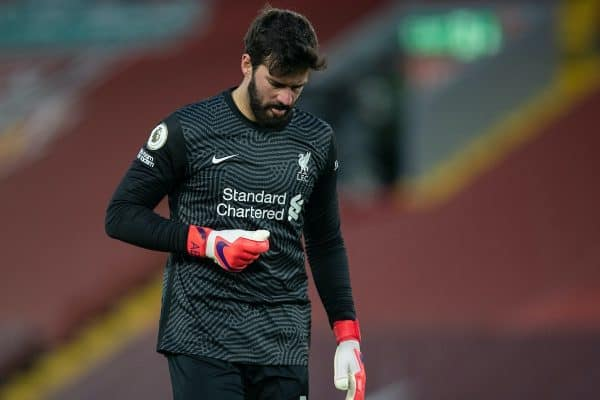LIVERPOOL, ENGLAND - Sunday, February 7, 2021: Liverpool's goalkeeper Alisson Becker prepares to face a penalty during the FA Premier League match between Liverpool FC and Manchester City FC at Anfield. Manchester City won 4-1. (Pic by David Rawcliffe/Propaganda)