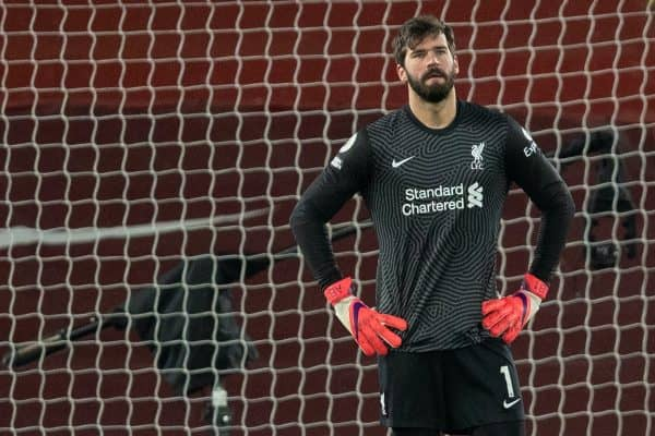 LIVERPOOL, ENGLAND - Sunday, February 7, 2021: Liverpool's goalkeeper Alisson Becker looks dejected as Manchester City score the third goal during the FA Premier League match between Liverpool FC and Manchester City FC at Anfield. Manchester City won 4-1. (Pic by David Rawcliffe/Propaganda)