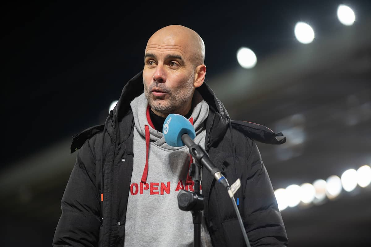 LIVERPOOL, ENGLAND - Sunday, February 7, 2021: Manchester City's manager Josep 'Pep' Guardiola is interviewed by BBC Radio 5 Live after the FA Premier League match between Liverpool FC and Manchester City FC at Anfield. Manchester City won 4-1. (Pic by David Rawcliffe/Propaganda)
