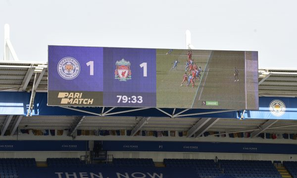 LEICESTER, ENGLAND - Saturday, February 13, 2021: A VAR decision is shown on the scoreboard awarding Leicester City an equalising goal during the FA Premier League match between Leicester City FC and Liverpool FC at the King Power Stadium. (Pic by Propaganda)