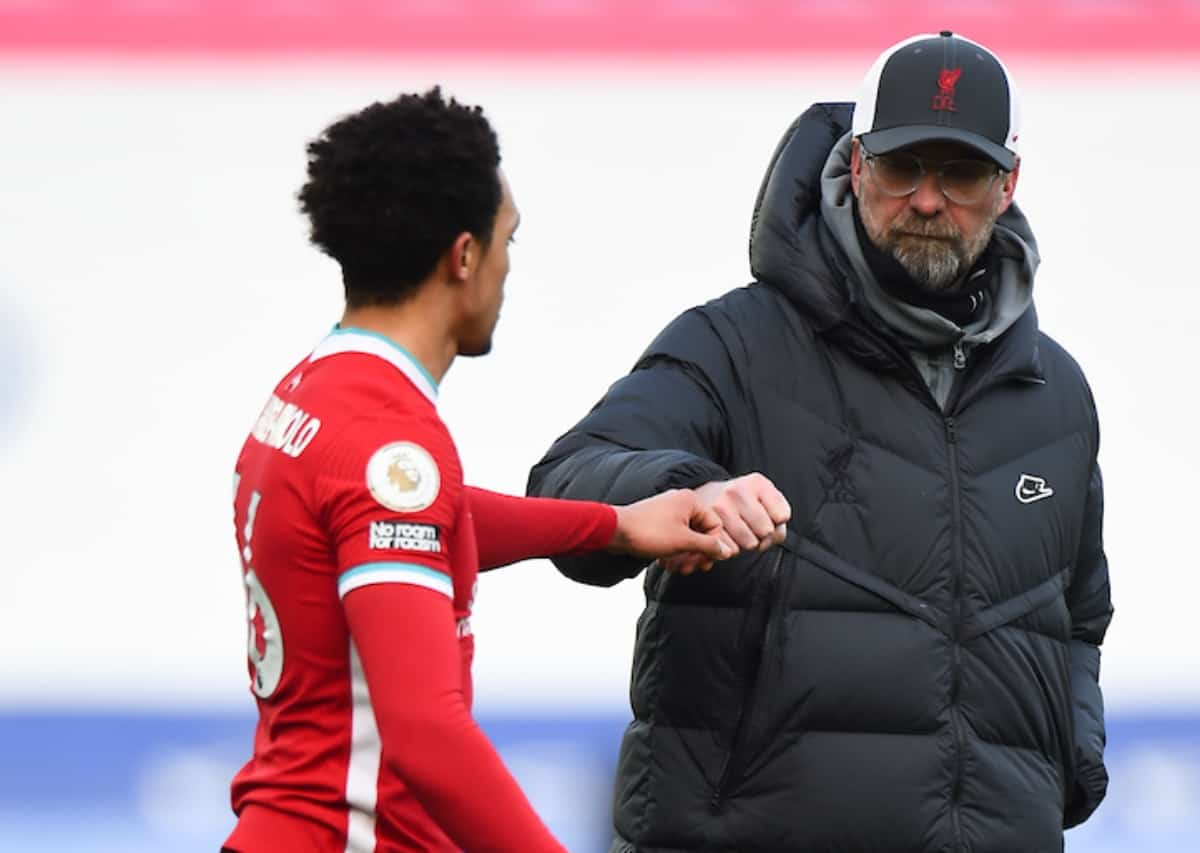 LEICESTER, ENGLAND - Saturday, February 13, 2021: Liverpool's manager Jürgen Klopp and Trent Alexander-Arnold after the FA Premier League match between Leicester City FC and Liverpool FC at the King Power Stadium. Leicester City won 3-1. (Pic by Propaganda)