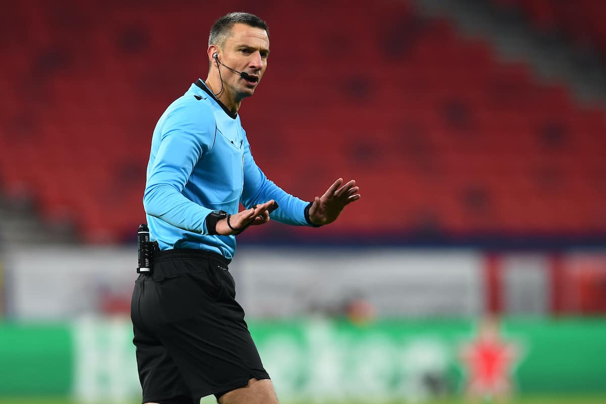 BUDAPEST, HUNGARY - Tuesday, February 16, 2021: Referee Slavko Vin?i? during the UEFA Champions League Round of 16 1st Leg game between RB Leipzig and Liverpool FC at the Puskás Aréna. (Pic by Propaganda)