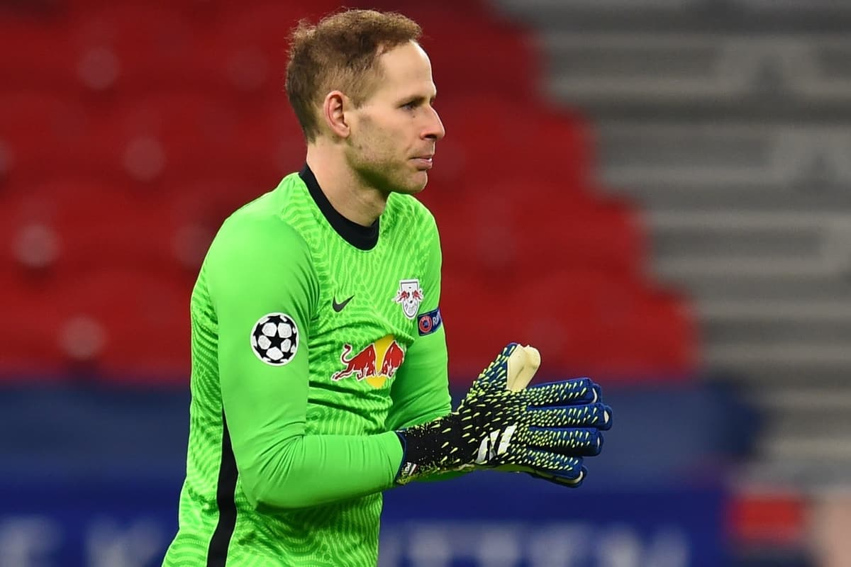 BUDAPEST, HUNGARY - Tuesday, February 16, 2021: RB Leipzig's goalkeeper Pe?ter Gula?csi during the UEFA Champions League Round of 16 1st Leg game between RB Leipzig and Liverpool FC at the Puskás Aréna. (Pic by Propaganda)