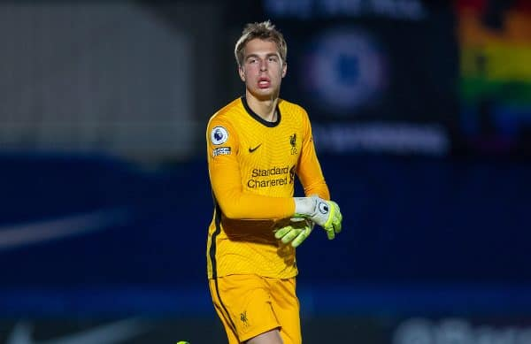 KINGSTON-UPON-THAMES, ENGLAND - Friday, February 19, 2021: Liverpool's substitute goalkeeper Jakub Ojrzynski comes on to replace the injured goalkeeper Marcelo Pitaluga during the Premier League 2 Division 1 match between Chelsea FC Under-23's and Liverpool FC Under-23's at the Kingsmeadow Stadium. Liverpool won 3-2. (Pic by David Rawcliffe/Propaganda)