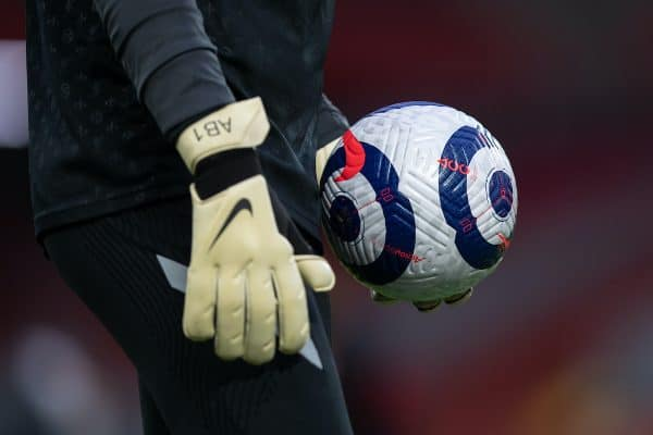 LIVERPOOL, ENGLAND - Saturday, February 20, 2021: The new Nike match ball during the FA Premier League match between Liverpool FC and Everton FC, the 238th Merseyside Derby, at Anfield. Everton won 2-0, the club's first win at Anfield since 1999. (Pic by David Rawcliffe/Propaganda)