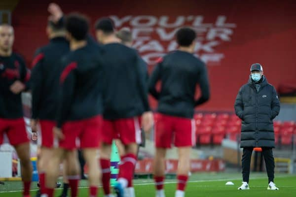 LIVERPOOL, ENGLAND - Saturday, February 20, 2021: Liverpool's manager Jürgen Klopp during the pre-match warm-up before the FA Premier League match between Liverpool FC and Everton FC, the 238th Merseyside Derby, at Anfield. Everton won 2-0, the club's first win at Anfield since 1999. (Pic by David Rawcliffe/Propaganda)