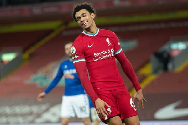 LIVERPOOL, ENGLAND - Saturday, February 20, 2021: Liverpool's Trent Alexander-Arnold looks dejected after missing a chance during the FA Premier League match between Liverpool FC and Everton FC, the 238th Merseyside Derby, at Anfield. Everton won 2-0, the club's first win at Anfield since 1999. (Pic by David Rawcliffe/Propaganda)