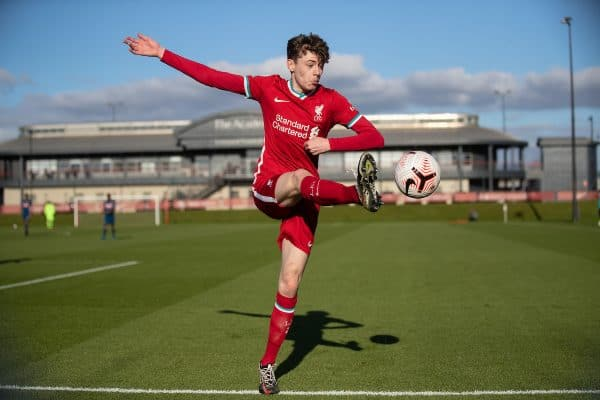 KIRKBY, ENGLAND - Saturday, February 27, 2021: Liverpool's Conor Bradley during the Premier League 2 Division 1 match between Liverpool FC Under-23's and Arsenal FC Under-23's at the Liverpool Academy. (Pic by David Rawcliffe/Propaganda)