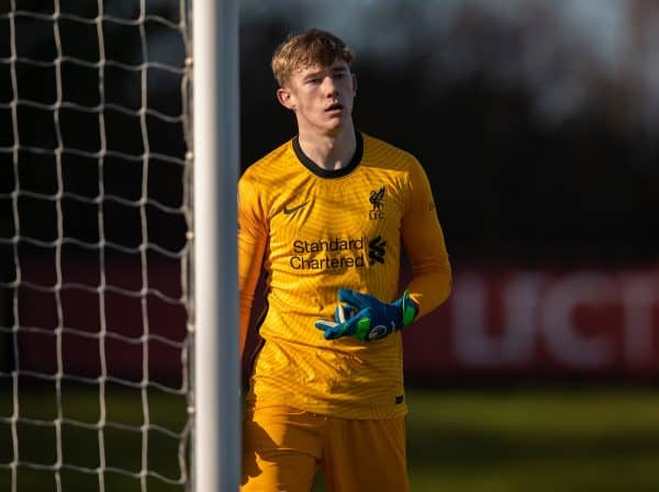 KIRKBY, ENGLAND - Saturday, February 27, 2021: Liverpool's goalkeeper Liam Hughes during the Premier League 2 Division 1 match between Liverpool FC Under-23's and Arsenal FC Under-23's at the Liverpool Academy. (Pic by David Rawcliffe/Propaganda)