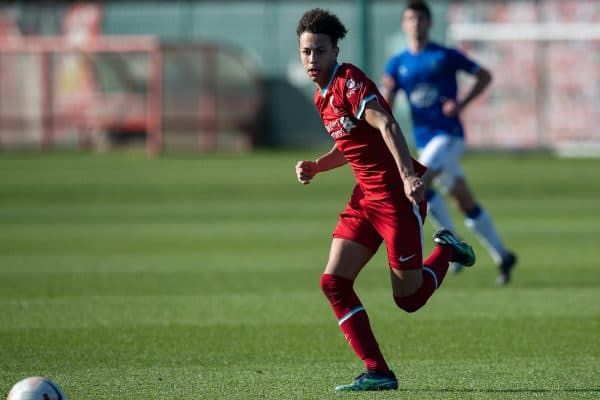 KIRKBY, ENGLAND - Saturday, February 27, 2021: Liverpool's Kaide Gordon during the Under-18 Premier League match between Liverpool FC Under-18's and Everton FC Under-23's at the Liverpool Academy. Liverpool won 2-1. (Pic by David Rawcliffe/Propaganda)