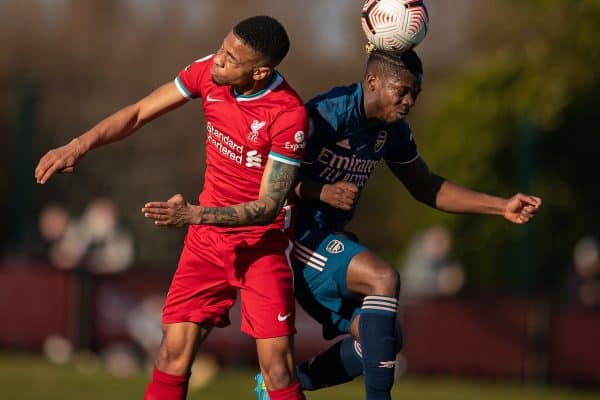 KIRKBY, ENGLAND - Saturday, February 27, 2021: Liverpool's Elijah Dixon-Bonner (L) challenges for a header with Arsenal's Tim Akinola during the Premier League 2 Division 1 match between Liverpool FC Under-23's and Arsenal FC Under-23's at the Liverpool Academy. (Pic by David Rawcliffe/Propaganda)
