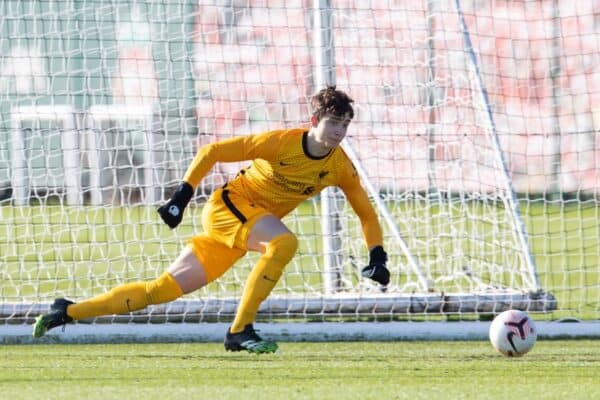 KIRKBY, ENGLAND - Saturday, February 27, 2021: Liverpool's goalkeeper Fabian Mrozek during the Under-18 Premier League match between Liverpool FC Under-18's and Everton FC Under-23's at the Liverpool Academy. Liverpool won 2-1. (Pic by David Rawcliffe/Propaganda)