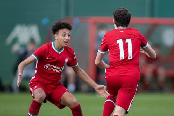 KIRKBY, ENGLAND - Saturday, February 27, 2021: Liverpool's Mateusz Musialowski (R) celebrates with team-mate Kaide Gordon (L) after scoring an injury time winning goal during the Under-18 Premier League match between Liverpool FC Under-18's and Everton FC Under-23's at the Liverpool Academy. Liverpool won 2-1. (Pic by David Rawcliffe/Propaganda)