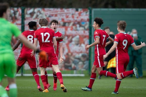 KIRKBY, ENGLAND - Saturday, February 27, 2021: Liverpool's Mateusz Musialowski celebrates after scoring the winning second goal during the Under-18 Premier League match between Liverpool FC Under-18's and Everton FC Under-23's at the Liverpool Academy. Liverpool won 2-1. (Pic by David Rawcliffe/Propaganda)