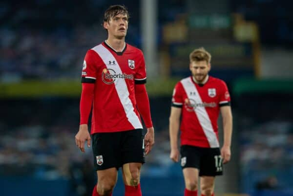 LIVERPOOL, ENGLAND - Monday, March 1, 2021: Southampton's Jannik Vestergaard looks dejected during the FA Premier League match between Everton FC and Southampton FC at Goodison Park. Everton won 1-0. (Pic by David Rawcliffe/Propaganda)