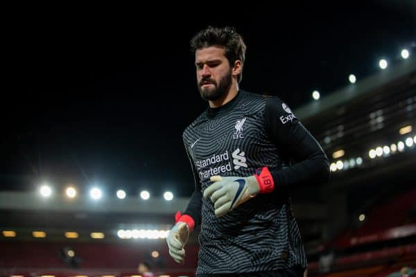LIVERPOOL, ENGLAND - Thursday, March 4, 2021: Liverpool's goalkeeper Alisson Becker during the FA Premier League match between Liverpool FC and Chelsea FC at Anfield. Chelsea won 1-0 condemning Liverpool to their fifth consecutive home defeat for the first time in the club's history. (Pic by David Rawcliffe/Propaganda)