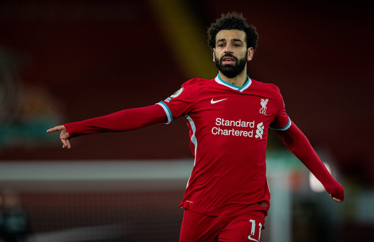 LIVERPOOL, ENGLAND - Thursday, March 4, 2021: Liverpool's Mohamed Salah during the FA Premier League match between Liverpool FC and Chelsea FC at Anfield. Chelsea won 1-0 condemning Liverpool to their fifth consecutive home defeat for the first time in the club's history. (Pic by David Rawcliffe/Propaganda)
