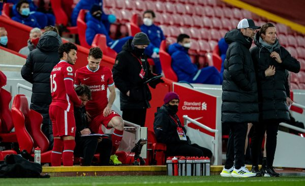 LIVERPOOL, ENGLAND - Thursday, March 4, 2021: Liverpool's substitutes Alex Oxlade-Chamberlain and Diogo Jota prepare to come on during the FA Premier League match between Liverpool FC and Chelsea FC at Anfield. Chelsea won 1-0 condemning Liverpool to their fifth consecutive home defeat for the first time in the club's history. (Pic by David Rawcliffe/Propaganda)