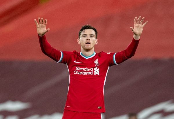 LIVERPOOL, ENGLAND - Thursday, March 4, 2021: Liverpool's Andy Robertson during the FA Premier League match between Liverpool FC and Chelsea FC at Anfield. Chelsea won 1-0 condemning Liverpool to their fifth consecutive home defeat for the first time in the club's history. (Pic by David Rawcliffe/Propaganda)