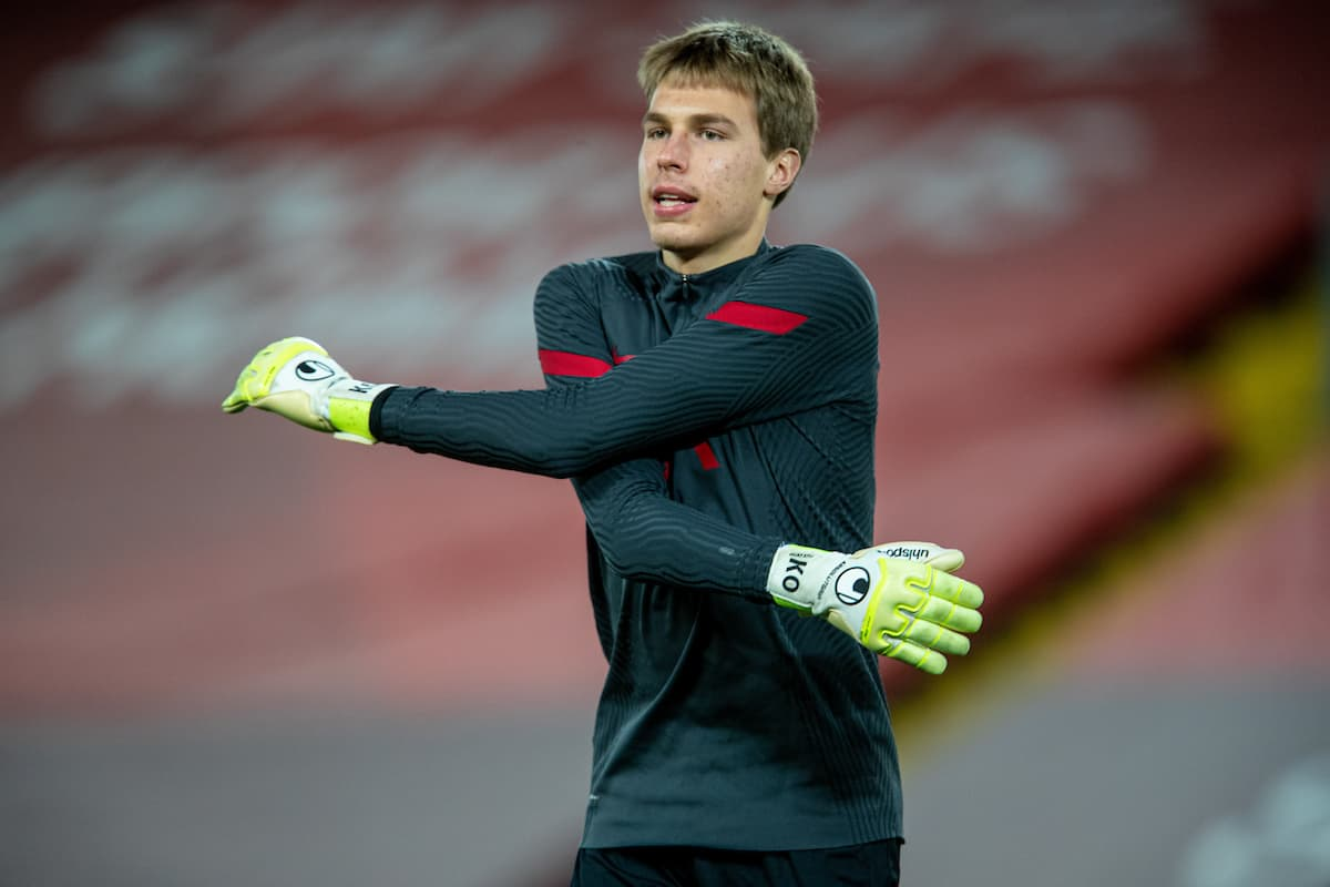 LIVERPOOL, ENGLAND - Thursday, March 4, 2021: Liverpool's goalkeeper Jakub Ojrzynski during the pre-match warm-up before the FA Premier League match between Liverpool FC and Chelsea FC at Anfield. Chelsea won 1-0 condemning Liverpool to their fifth consecutive home defeat for the first time in the club's history. (Pic by David Rawcliffe/Propaganda)