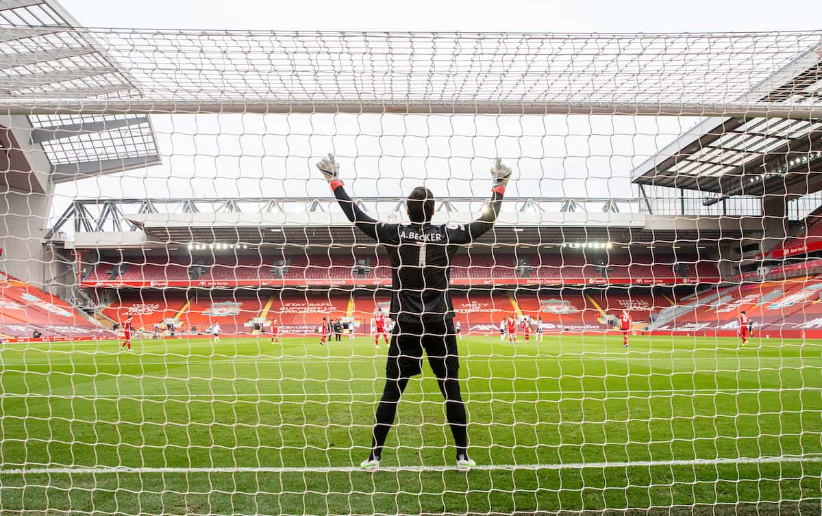 LIVERPOOL, ENGLAND - Sunday, March 7, 2021: Liverpool's goalkeeper Alisson Becker prays before the FA Premier League match between Liverpool FC and Fulham FC at Anfield. Fulham won 1-0 extending Liverpool's run to six consecutive home defeats. (Pic by David Rawcliffe/Propaganda)