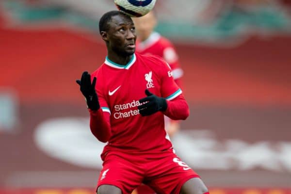 LIVERPOOL, ENGLAND - Sunday, March 7, 2021: Liverpool's Naby Keita during the FA Premier League match between Liverpool FC and Fulham FC at Anfield. Fulham won 1-0 extending Liverpool's run to six consecutive home defeats. (Pic by David Rawcliffe/Propaganda)