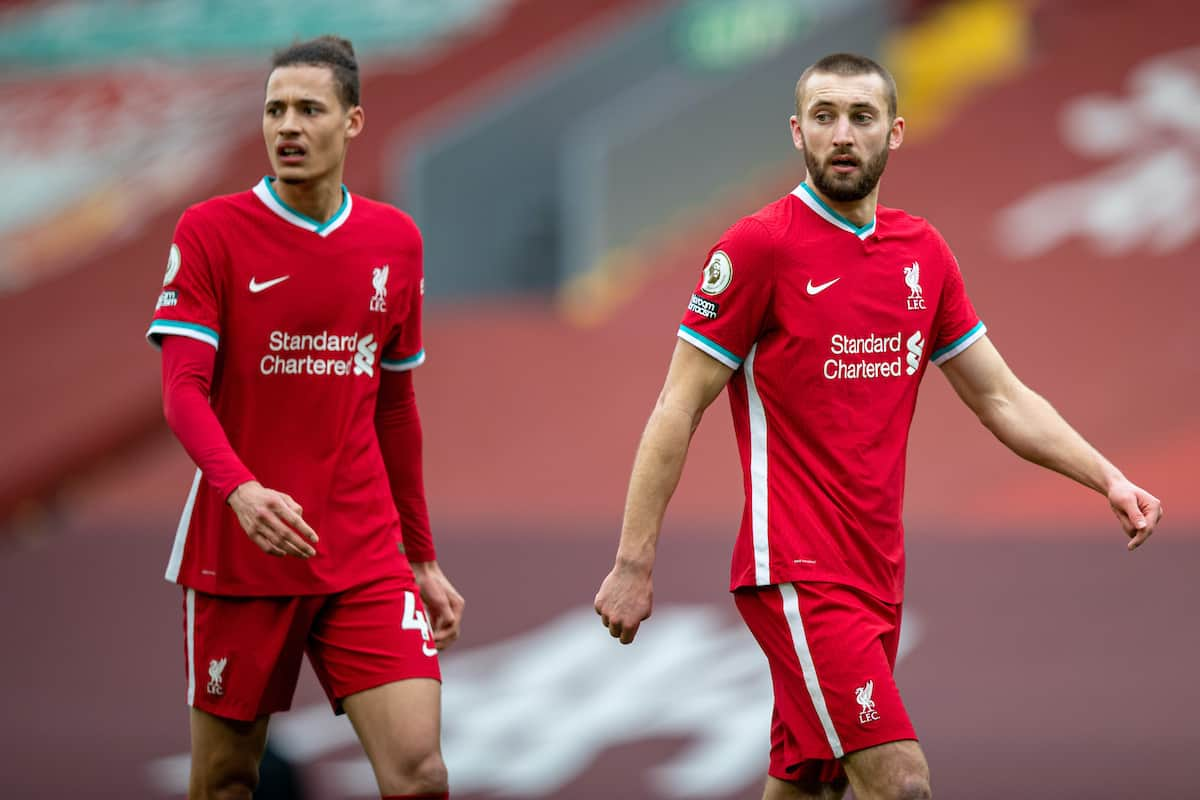 LIVERPOOL, ENGLAND - Sunday, March 7, 2021: Liverpool's Rhys Williams (L) and Nathaniel Phillips during the FA Premier League match between Liverpool FC and Fulham FC at Anfield. Fulham won 1-0 extending Liverpool's run to six consecutive home defeats. (Pic by David Rawcliffe/Propaganda)