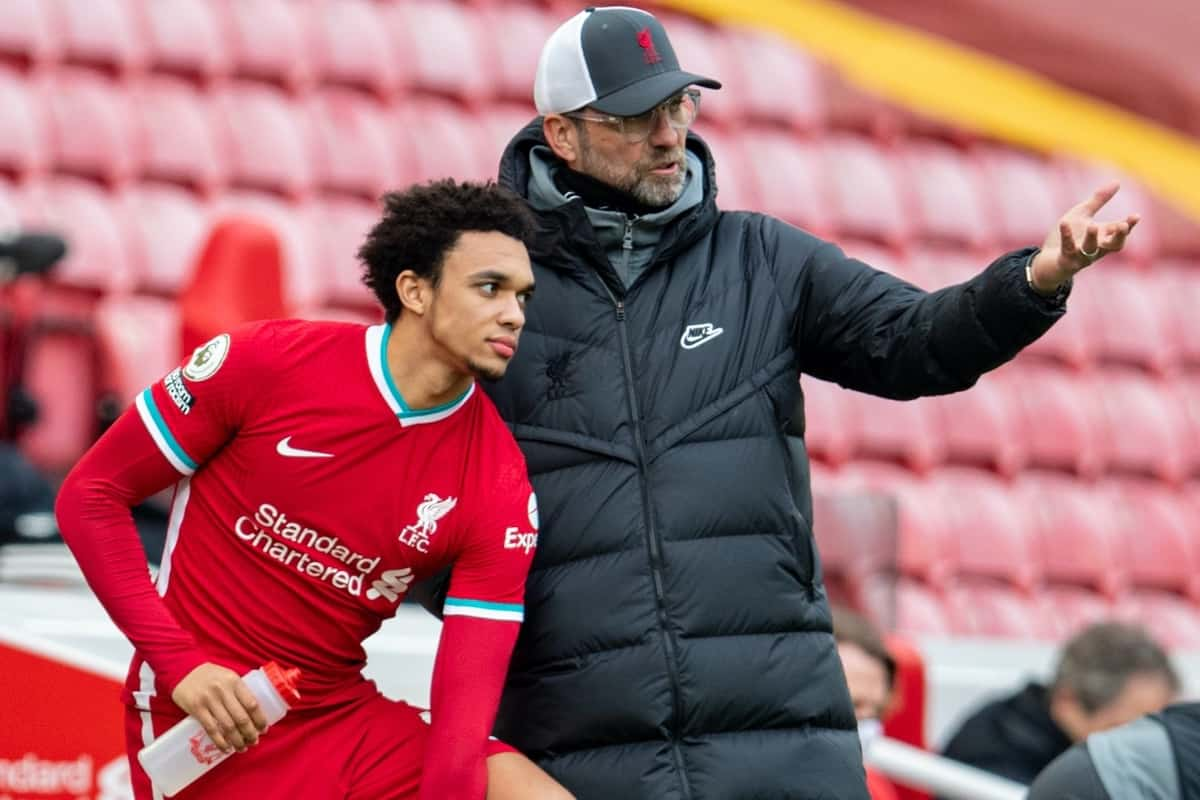 LIVERPOOL, ENGLAND - Sunday, March 7, 2021: Liverpool's manager Jürgen Klopp prepares to bring on substitute Trent Alexander-Arnold during the FA Premier League match between Liverpool FC and Fulham FC at Anfield. Fulham won 1-0 extending Liverpool's run to six consecutive home defeats. (Pic by David Rawcliffe/Propaganda)
