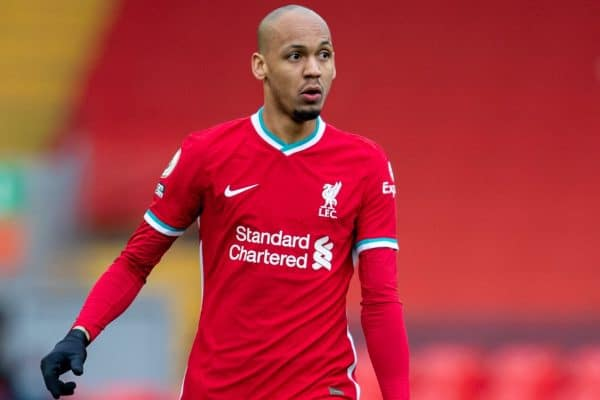 LIVERPOOL, ENGLAND - Sunday, March 7, 2021: Liverpool's Fabio Henrique Tavares 'Fabinho' during the FA Premier League match between Liverpool FC and Fulham FC at Anfield. Fulham won 1-0 extending Liverpool's run to six consecutive home defeats. (Pic by David Rawcliffe/Propaganda)