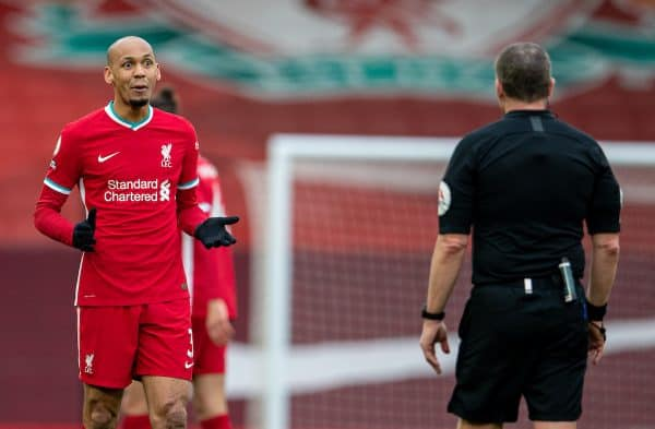 LIVERPOOL, ENGLAND - Sunday, March 7, 2021: Liverpool's Fabio Henrique Tavares 'Fabinho' speaks with referee Kevin Friend during the FA Premier League match between Liverpool FC and Fulham FC at Anfield. Fulham won 1-0 extending Liverpool's run to six consecutive home defeats. (Pic by David Rawcliffe/Propaganda)