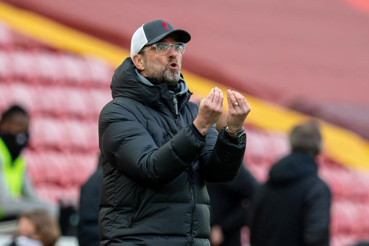 LIVERPOOL, ENGLAND - Sunday, March 7, 2021: Liverpool's manager Jürgen Klopp reacts during the FA Premier League match between Liverpool FC and Fulham FC at Anfield. Fulham won 1-0 extending Liverpool's run to six consecutive home defeats. (Pic by David Rawcliffe/Propaganda)