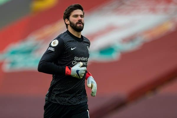 LIVERPOOL, ENGLAND - Sunday, March 7, 2021: Liverpool's goalkeeper Alisson Becker during the FA Premier League match between Liverpool FC and Fulham FC at Anfield. Fulham won 1-0 extending Liverpool's run to six consecutive home defeats. (Pic by David Rawcliffe/Propaganda)
