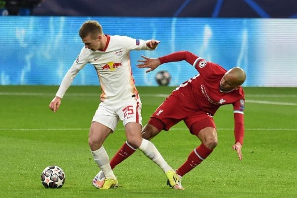 BUDAPEST, HUNGARY - Wednesday, March 10, 2021: Liverpool's Fabio Henrique Tavares 'Fabinho' (R) and RB Leipzig's Dani Olmo during the UEFA Champions League Round of 16 2nd Leg game between Liverpool FC and RB Leipzig at the Puskás Aréna. Liverpool won 2-0, 4-0 on aggregate. (Pic by Propaganda)