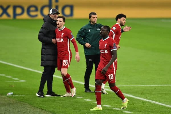 BUDAPEST, HUNGARY - Wednesday, March 10, 2021: Liverpool's Sadio Mané walks off the field after being substituted during the UEFA Champions League Round of 16 2nd Leg game between Liverpool FC and RB Leipzig at the Puskás Aréna. Liverpool won 2-0, 4-0 on aggregate. (Pic by Propaganda)