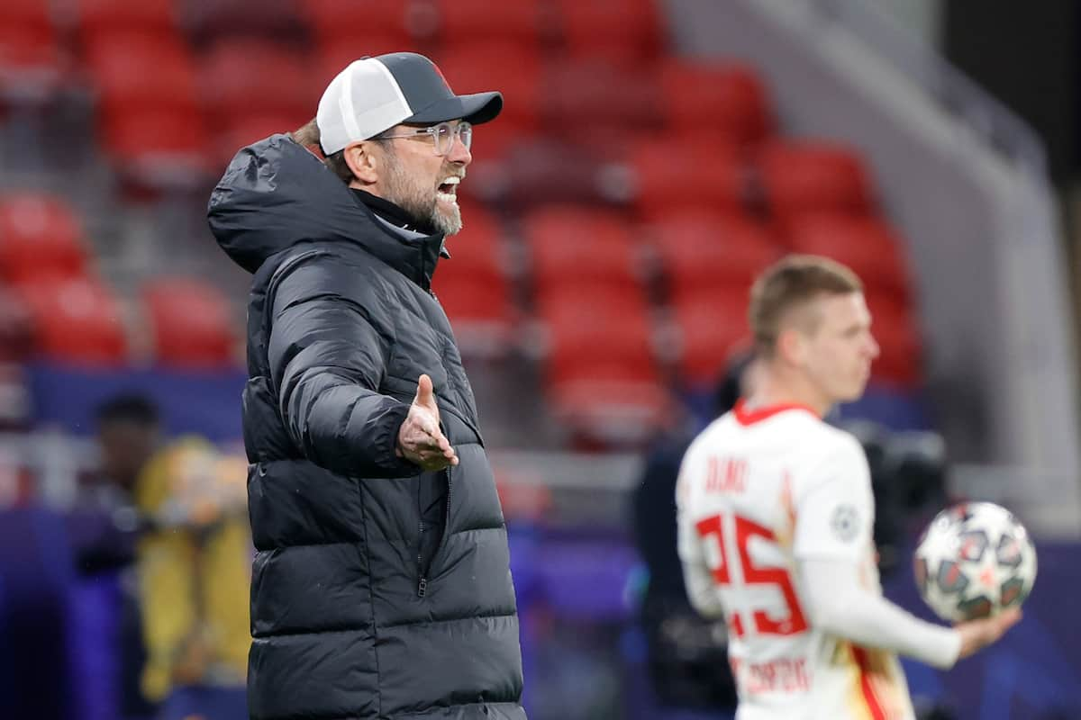 BUDAPEST, HUNGARY - Wednesday, March 10, 2021: Liverpool's manager Jürgen Klopp during the UEFA Champions League Round of 16 2nd Leg game between Liverpool FC and RB Leipzig at the Puskás Aréna. Liverpool won 2-0, 4-0 on aggregate. (Pic ©UEFA)