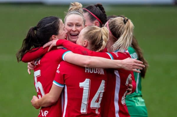BIRKENHEAD, ENGLAND - Sunday, March 14, 2021: Liverpool's captain Niamh Fahey (L) celebrates with team-mates after scoring the first goal during the FA Women's Championship game between Liverpool FC Women and Coventry United Ladies FC at Prenton Park. Liverpool won 5-0. (Pic by David Rawcliffe/Propaganda)
