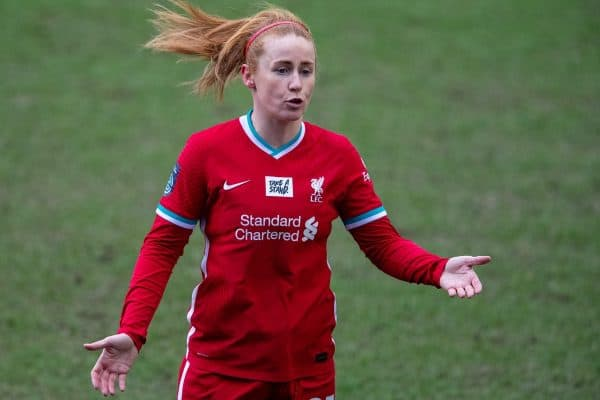 BIRKENHEAD, ENGLAND - Sunday, March 14, 2021: Liverpool's Rachel Furness during the FA Women's Championship game between Liverpool FC Women and Coventry United Ladies FC at Prenton Park. Liverpool won 5-0. (Pic by David Rawcliffe/Propaganda)