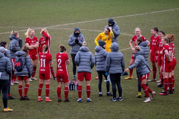 BIRKENHEAD, ENGLAND - Sunday, March 14, 2021: Liverpool players after the FA Women's Championship game between Liverpool FC Women and Coventry United Ladies FC at Prenton Park. Liverpool won 5-0. (Pic by David Rawcliffe/Propaganda)