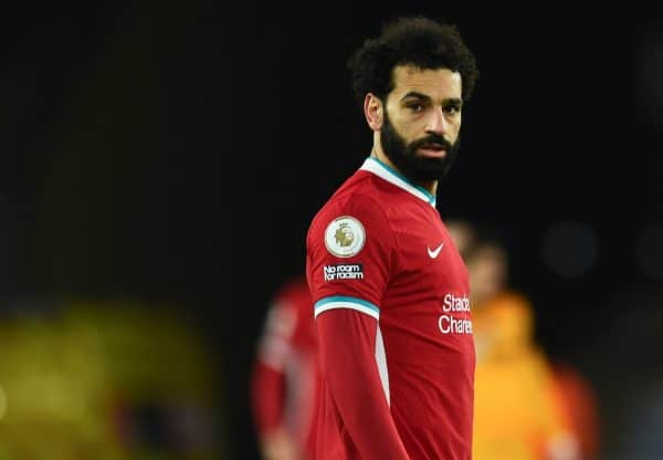 WOLVERHAMPTON, ENGLAND - Monday, March 15, 2021: Liverpool's Mohamed Salah during the FA Premier League match between Wolverhampton Wanderers FC and Liverpool FC at Molineux Stadium. Liverpool won 1-0. (Pic by Propaganda)