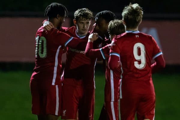 KIRKBY, ENGLAND - Tuesday, March 16, 2021: Liverpool's Tyler Morton (2nd from L) celebrates after scoring the first goal during the FA Youth Cup 3rd Round match between Liverpool FC Under-18's and Sutton United FC Under-18's at the Liverpool Academy. Liverpool won 6-0. (Pic by David Rawcliffe/Propaganda)