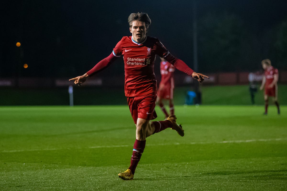 KIRKBY, ENGLAND - Tuesday, March 16, 2021: Liverpool's substitute Ethan Ennis celebrates after scoring the fourth goal during the FA Youth Cup 3rd Round match between Liverpool FC Under-18's and Sutton United FC Under-18's at the Liverpool Academy. Liverpool won 6-0. (Pic by David Rawcliffe/Propaganda)