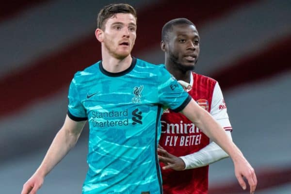 LONDON, ENGLAND - Saturday, April 3, 2021: Liverpool's Andy Robertson (L) and Arsenal's Nicolas Pépé during the FA Premier League match between Arsenal FC and Liverpool FC at the Emirates Stadium. Liverpool won 3-0. (Pic by David Rawcliffe/Propaganda)