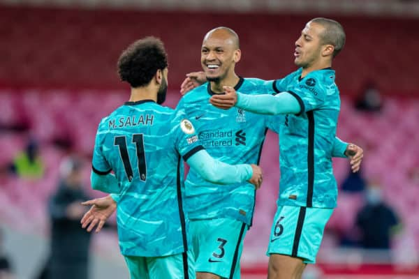 LONDON, ENGLAND - Saturday, April 3, 2021: Liverpool's Mohamed Salah (L) celebrates after scoring the second goal with team-mates Fabio Henrique Tavares 'Fabinho' (C) and Thiago Alcantara (R) during the FA Premier League match between Arsenal FC and Liverpool FC at the Emirates Stadium. Liverpool won 3-0. (Pic by David Rawcliffe/Propaganda)